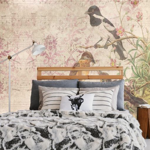 Artystyczna fototapeta z ptakami do sypialni