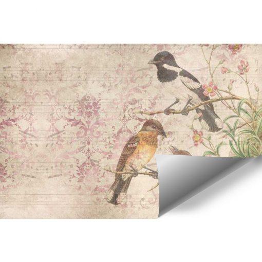 Artystyczna fototapeta z ptakami na przedpok贸j