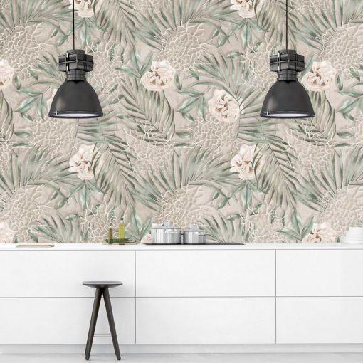 Botaniczna fototapeta z różą do kuchni