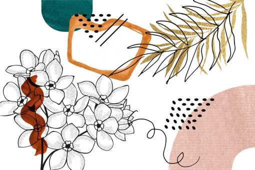 Fot-otapeta z motywem kwiatowymi i abstrakcyjnym