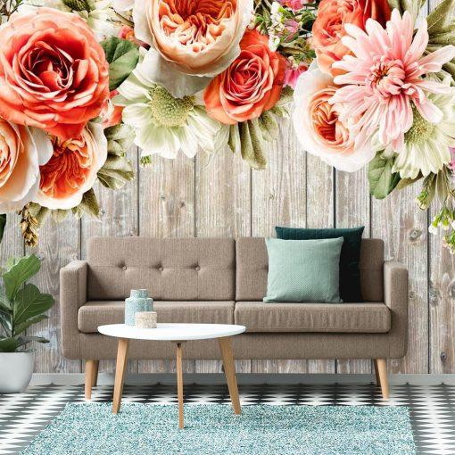 Foto-tapeta do ozdoby salonu z motywem kwiatowym
