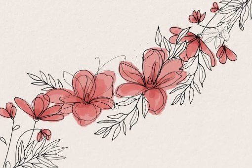 Foto-tapeta z graficznymi kwiatami w r贸偶u