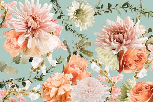 Fototapeta - Kwiaty na niebieskim tle