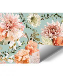 Fototapeta - Kwiaty na niebieskim tle do gabinetu kosmetycznego