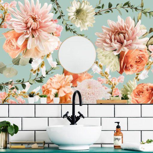 Fototapeta - Kwiaty na niebieskim tle do 艂azienki
