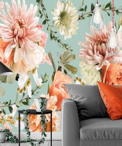 Fototapeta - Kwiaty na niebieskim tle do salonu