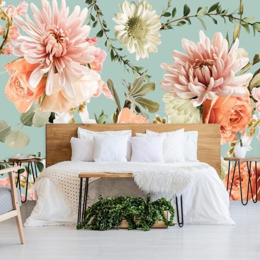 Fototapeta - Kwiaty na niebieskim tle do sypialni