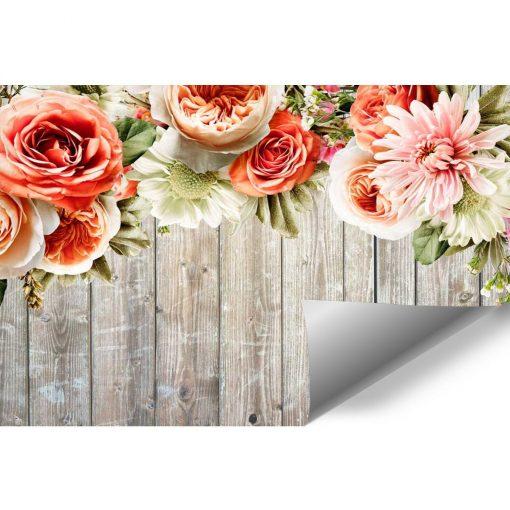 Fototapeta rustykalna z deskami i kwiatami