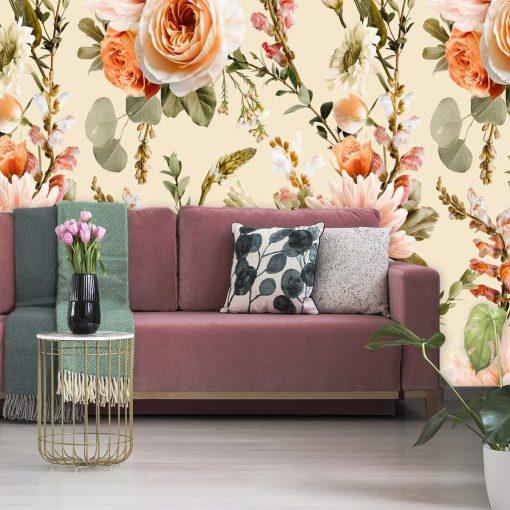 Fototapeta w barwne kwiaty do sypialni