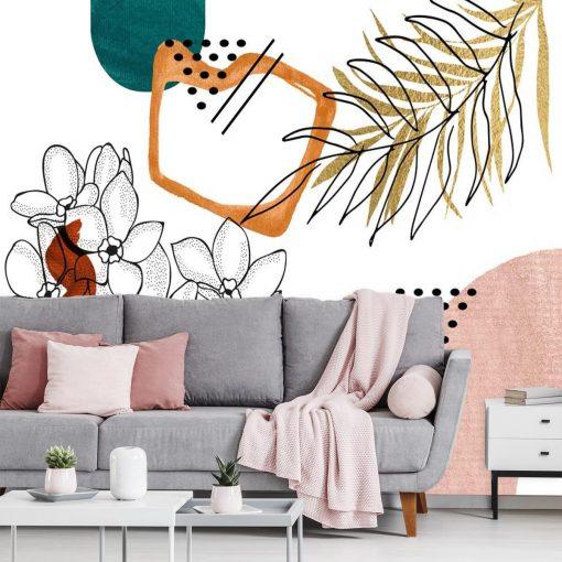 Fototapeta z motywem kwiat贸w i abstrakcji