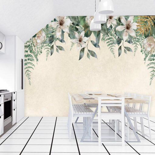 Harmonijna fototapeta z kwiatowym wzorem do jadalni
