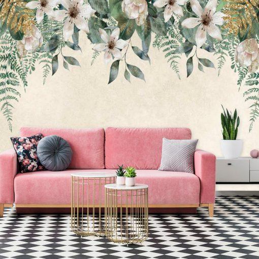 Harmonijna fototapeta z kwiatowym wzorem do salonu