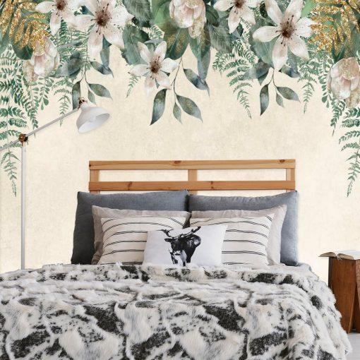 Harmonijna fototapeta z kwiatowym wzorem do sypialni