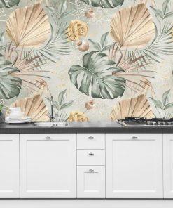 Kobieca foto-tapeta z li艣膰mi palmowymi do kuchni