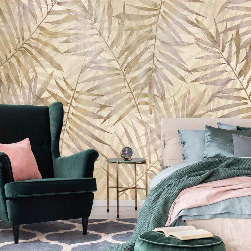 Orientalna fototapeta w palmowe li艣cie do sypialni