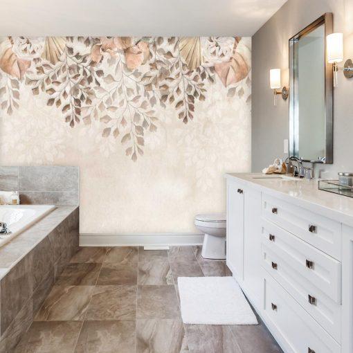 Subtelna foto-tapeta botaniczna do łazienki