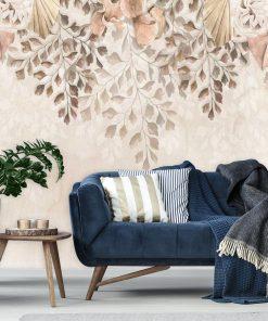 Subtelna foto-tapeta botaniczna do salonu