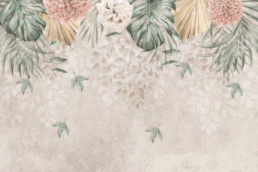 Subtelne kwiaty na fototapecie do jadalni