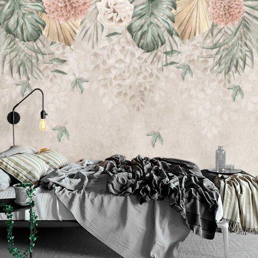 Subtelne kwiaty na fototapecie do sypialni