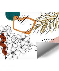 Tapeta zarys kwiat贸w i abstrakcja do salonu