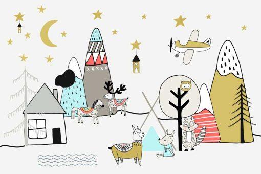 Tapeta dla dzieci góry i zwierzęta do pokoju dziecięcego