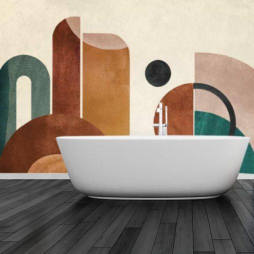 Tapeta z kolorow膮 abstrakcj膮 do 艂azienki