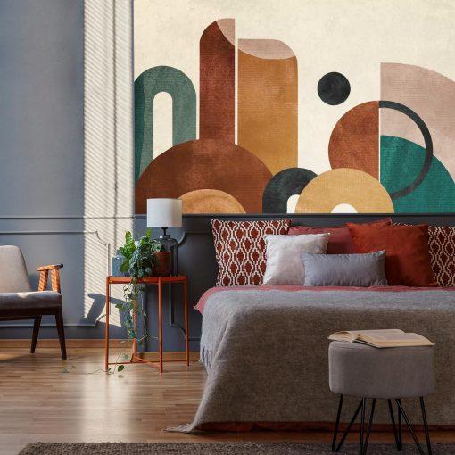 Tapeta z kolorow膮 abstrakcj膮 do sypialni