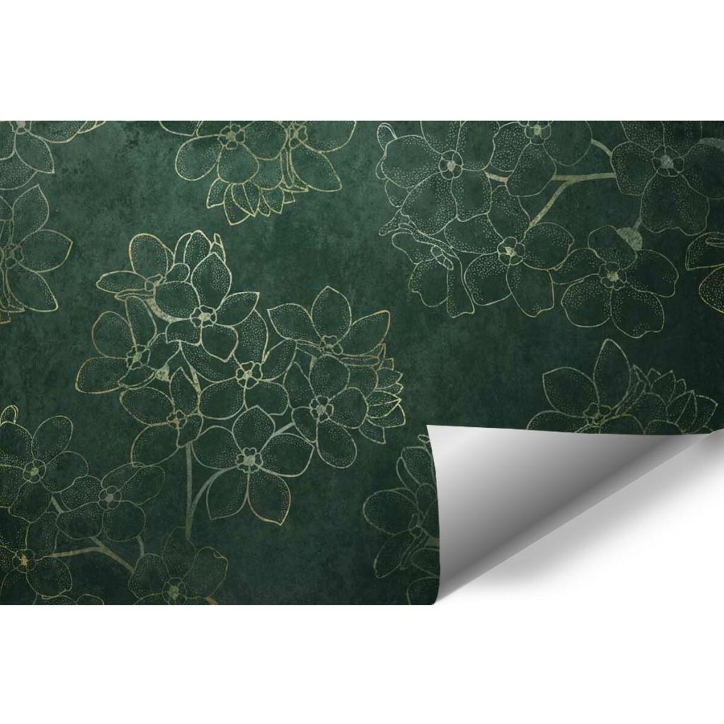 Tapeta z konturowymi kwiatami do salonu