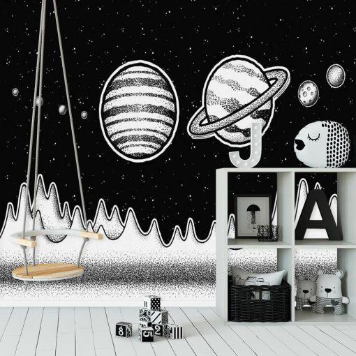 Foto-tapeta z Saturnem do ozdoby pokoju dziecka