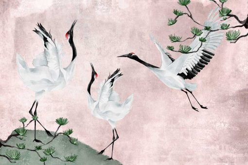 Foto-tapeta z trzema żurawiami