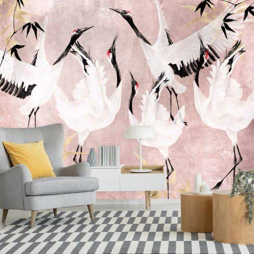 Foto-tapeta z żurawiami w okresie godowym
