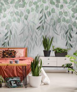 Foto-tapety z li艣膰mi w zielonym kolorze