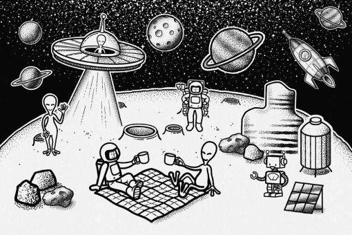 Fototapeta astronauci i ufoludki na Księżycu w czarno-białych kolorach