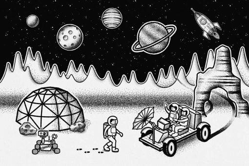 Fototapeta z kosmiczną stacją badawczą w czarno-białych kolorach