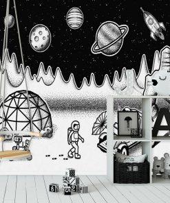Fototapeta ze stacj膮 badawcz膮 w kosmosie