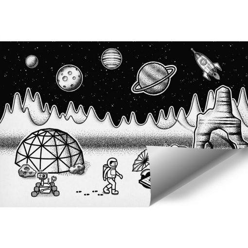 Tapeta z kosmiczną stacją i astronautami