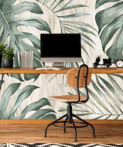 Tapeta z tropikalnymi li艣膰mi monstery do biura